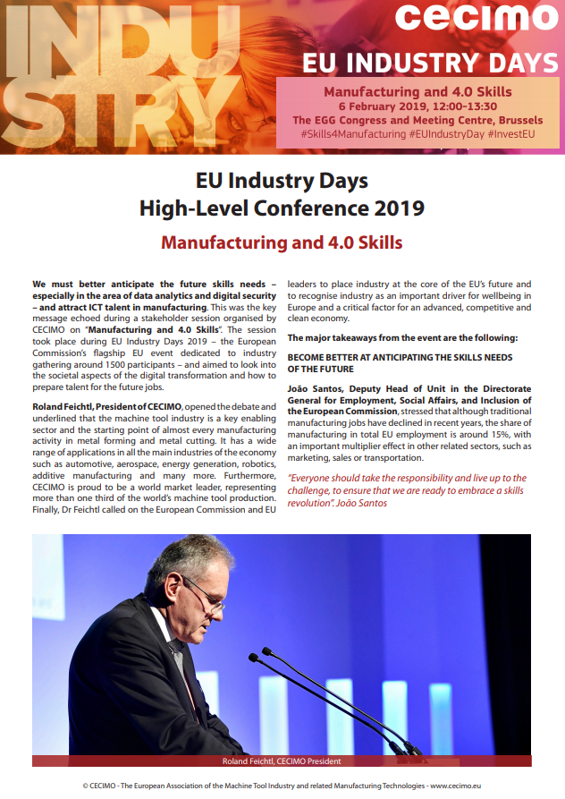 CECIMO Special Report – EU Industry Day