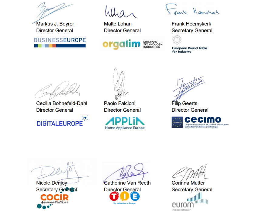 Joint open letter on Industry Competitiveness and EU Standardisation