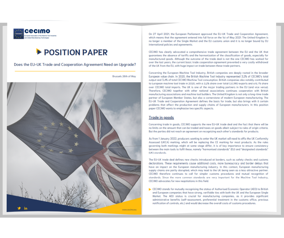 Position Paper: Does the EU-UK Trade and Cooperation Agreement Need an Upgrade?